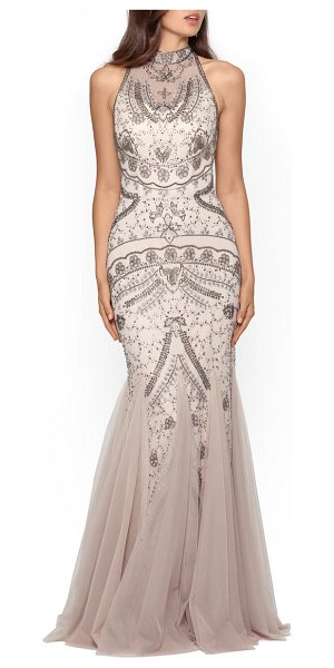 Xscape embellished godet mermaid gown in champagne