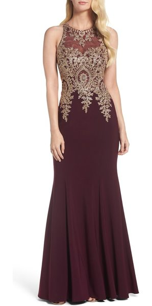 XSCAPE Embroidered Mermaid Gown | Shopstasy