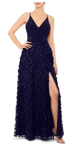Xscape floral applique gown in navy/ navy