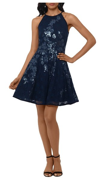 Xscape floral sequin lace skater dress in navy/ navy