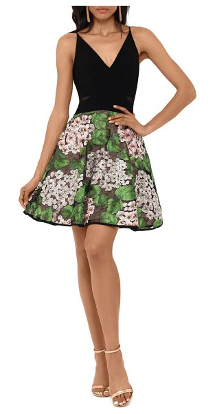 Xscape mixed media party dress in black/ green