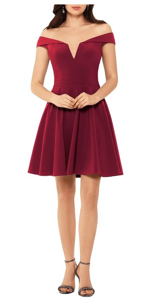 Xscape off the shoulder skater dress in wine
