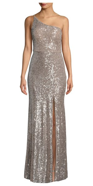 Xscape one-shoulder sequin column gown in nude/ silver