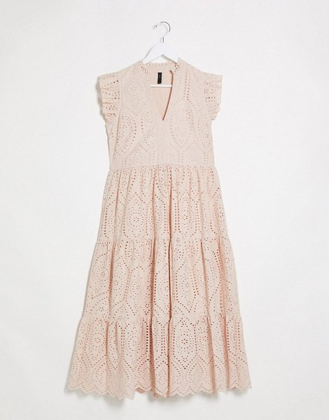 Y.A.S broderie maxi dress with frill sleeve and tiering in pink in pink
