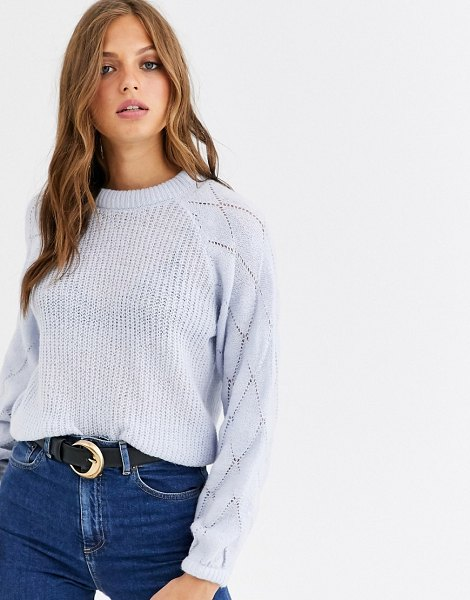 Y.A.S fine knit sweater with volume diamond sleeve in pastelblue