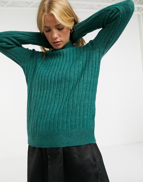Y.A.S high neck sweater in textured knit-green in green