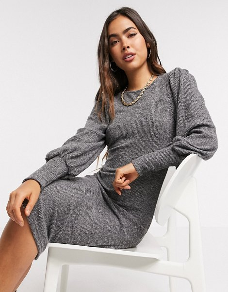 Y.A.S knitted midi dress with high neck in gray in gray