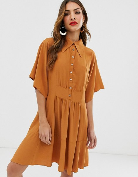 Y.A.S oversized mini shirt dress-brown in brown