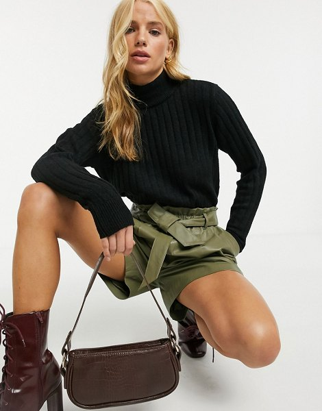 Y.A.S ribbed sweater with high neck in black in black