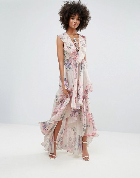"Y.A.S Ruffle Floral Lace Up Maxi Dress in multi - """"Dress by Y.A.S, Lightweight woven fabric, Floral..."