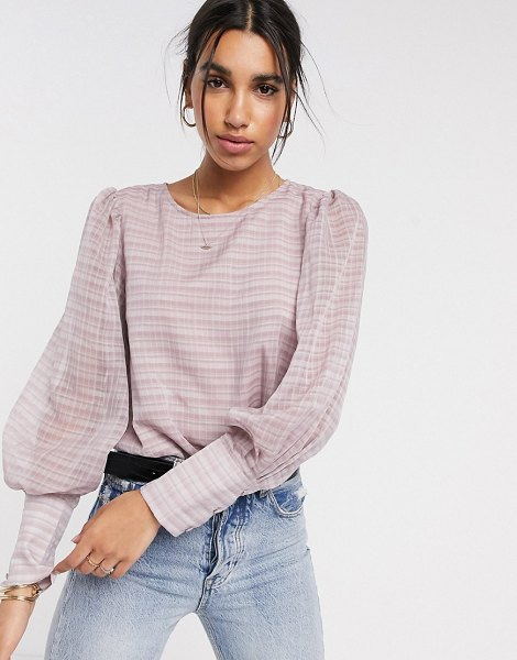 Y.A.S sheer blouse in pink check in pink
