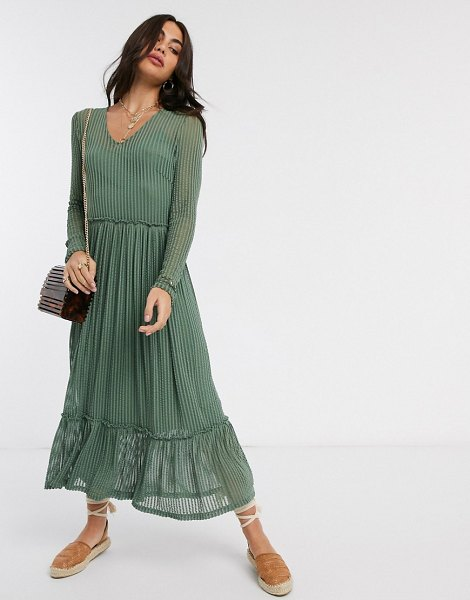 Y.A.S smock midi dress with stripe detail in green in green