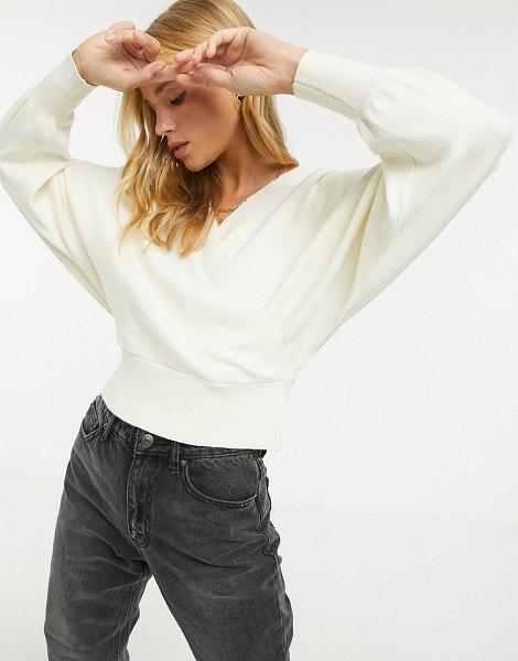Y.A.S wrap sweater with batwing sleeve in cream in cream