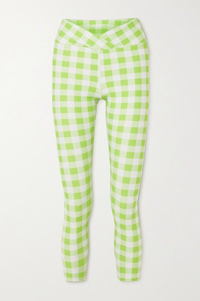 YEAR OF OURS veronica wrap-effect gingham stretch leggings in green