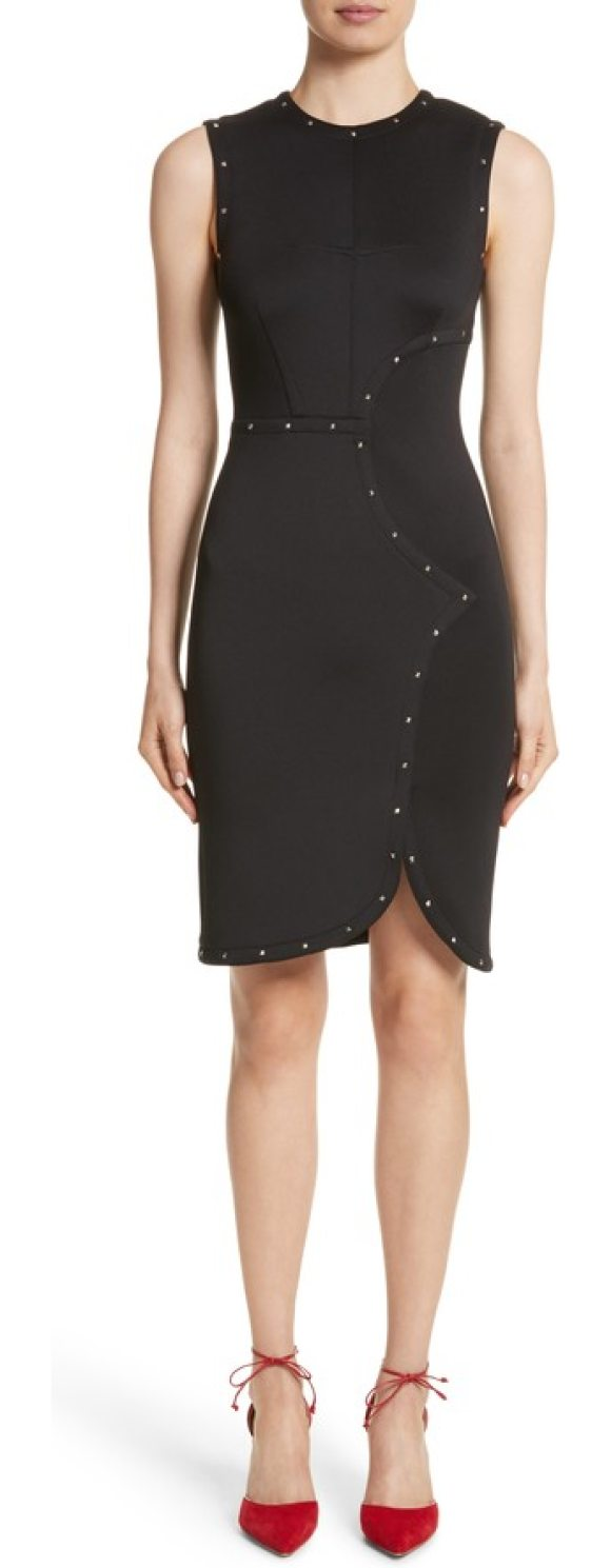 Yigal Azrouel studded scuba sheath dress in jet - Edgy pyramid studs emphasize Yigal Azrouel's expert...