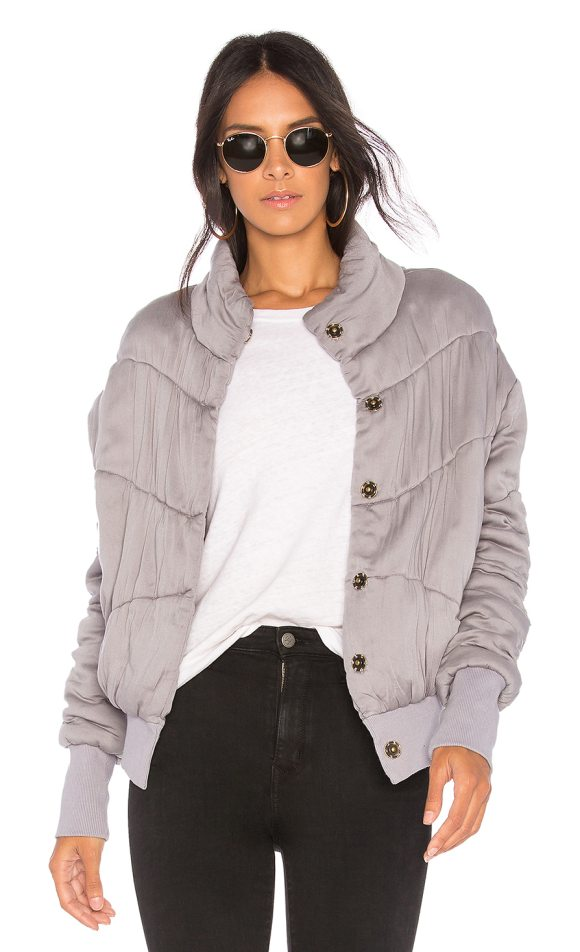 Young Fabulous & Broke Puffer Jacket in gray - Self: 100% rayonFilling: 100% polyContrast: 95% cotton...