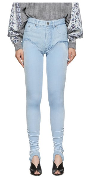 Y/PROJECT blue stirrup shorts jeans in ice blue