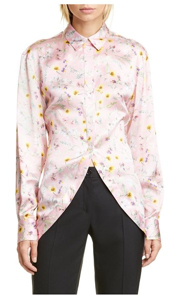 Y/PROJECT floral print silk shirt in light pink flowers
