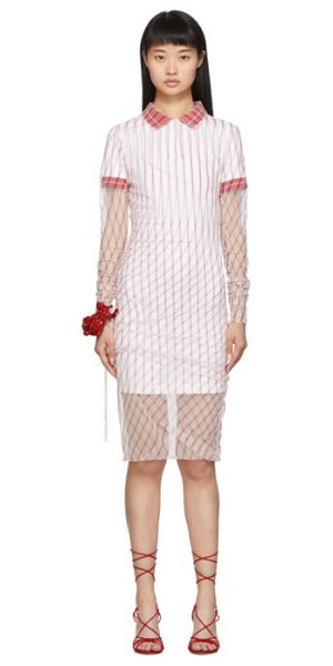 Y/PROJECT red printed condom polo dress in white