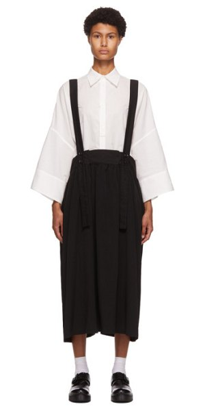 Ys suspender gathered skirt in black
