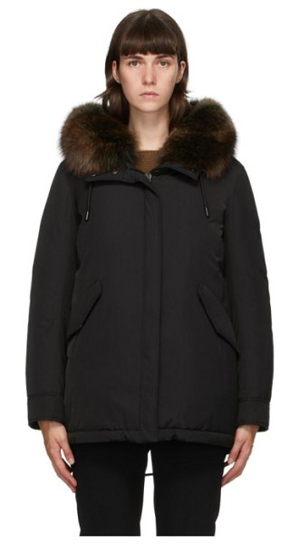 Yves Salomon - Army black down hooded coat in a0547 noir