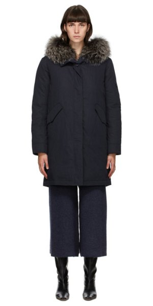 Yves Salomon - Army navy down bachette coat in b2340 ink