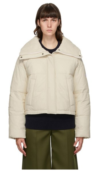 Yves Salomon - Army off-white down and leather doudoune jacket in b1991 merin