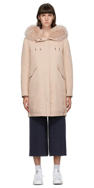 Yves Salomon - Army pink down bachette coat in a5117 sepia