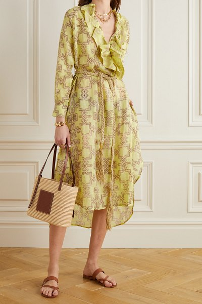 YVONNE S belted ruffled printed linen midi dress in yellow