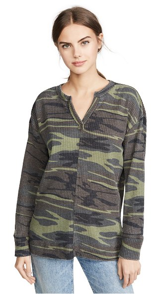 Z Supply camo split neck thermal top in camo green