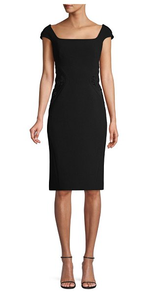 Zac Posen Embellished Knee-Length Sheath Dress in black