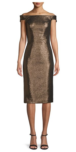 Zac Posen Off-The-Shoulder Glitter Lurex Cocktail Dress in copper