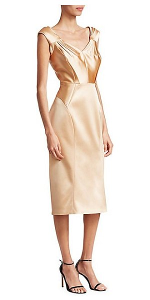 Zac Posen stretch satin cocktail dress in champagne