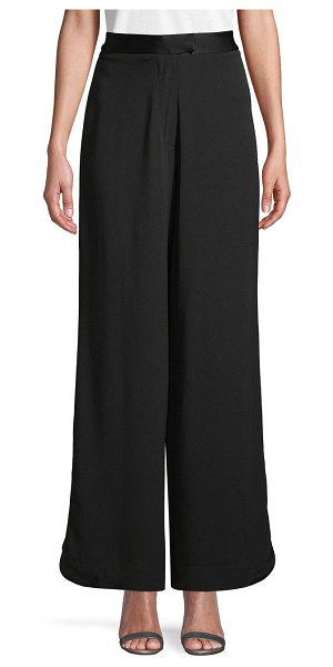 Zac Posen Wide-Leg Flat-Front Pants in black