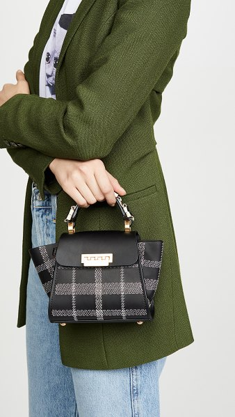 ZAC Zac Posen eartha mini top handle bag in black tartan