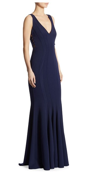 ZAC Zac Posen tinsley side tie mermaid gown in navy - Elegant gown with side tie details for a chic flair....