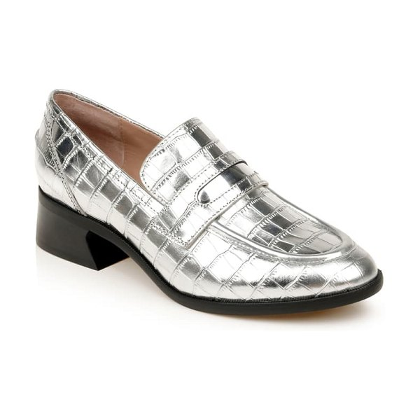 ZAC Zac Posen wayne loafer in silver embossed patent leather