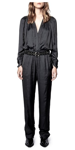 Zadig & Voltaire captain belted satin long sleeve jumpsuit in noir