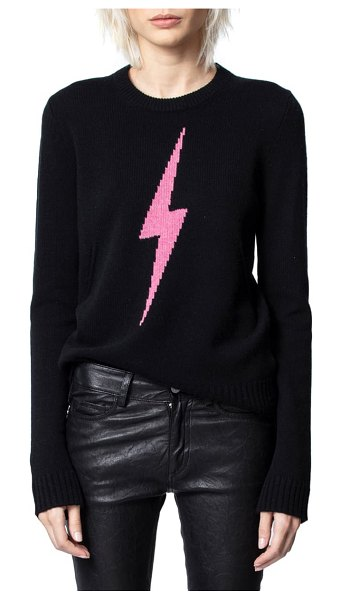 Zadig & Voltaire delly c flash lightning bolt cashmere sweater in noir