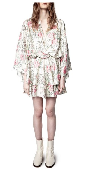 Zadig & Voltaire floral twist front long sleeve silk satin dress in judo