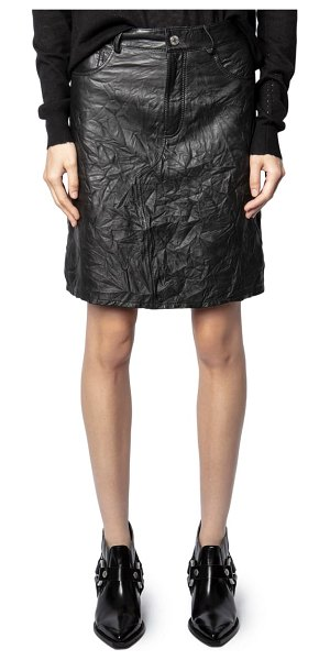 Zadig & Voltaire juicer cuir froisse leather skirt in noir