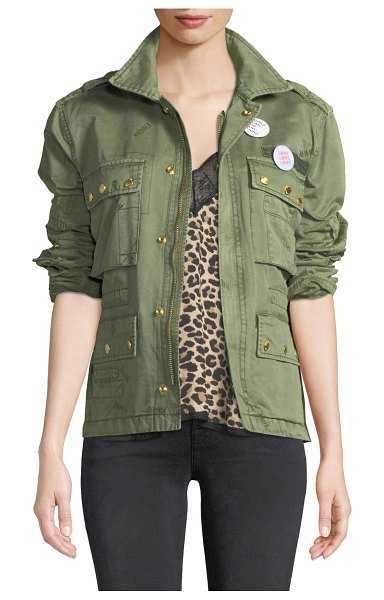 "Zadig & Voltaire Krisy Grunge Utility Jacket with Pins in khaki - Zadig & Voltaire ""Krisy Grunge"" jacket with decorative..."