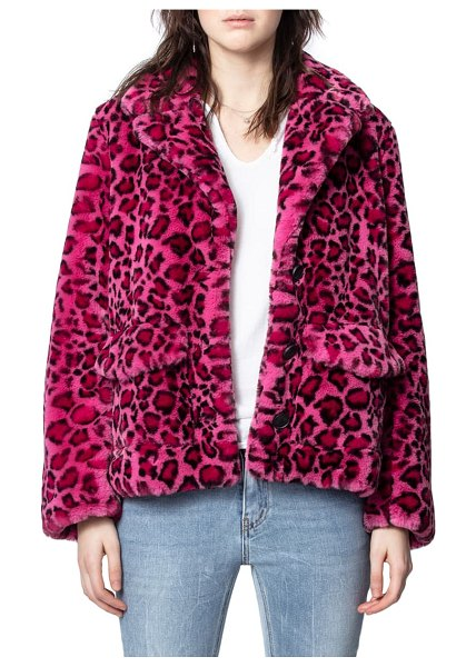 Zadig & Voltaire lila faux fur jacket in framboise