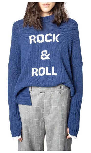 Zadig & Voltaire malta merino wool rock & roll intarsia sweater in bleu chine