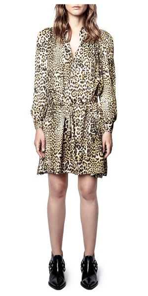 Zadig & Voltaire retouch leopard print long sleeve dress in natural