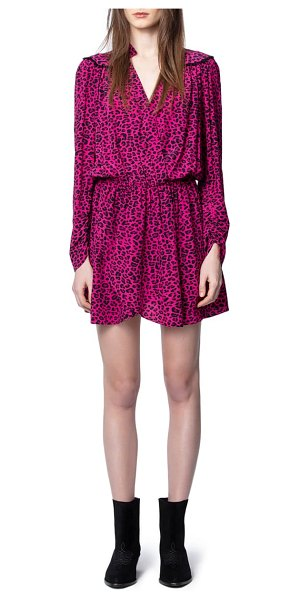 Zadig & Voltaire reveal leopard print long sleeve dress in framboise
