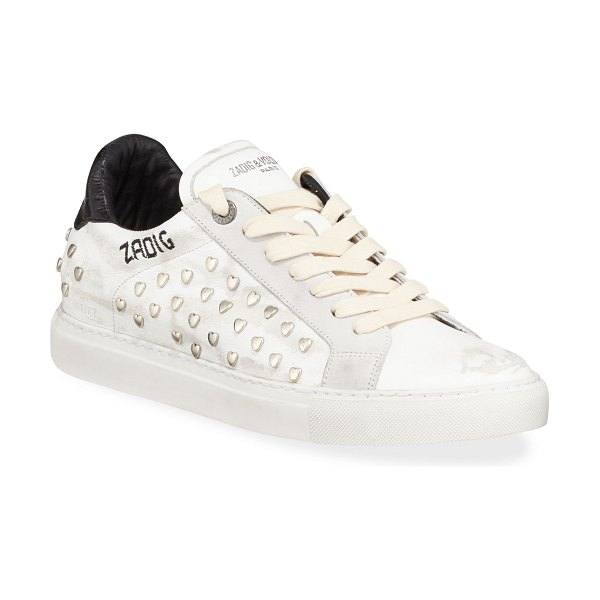 Zadig & Voltaire ZV1747 Distressed Heart-Studded Leather Sneaker in blanc