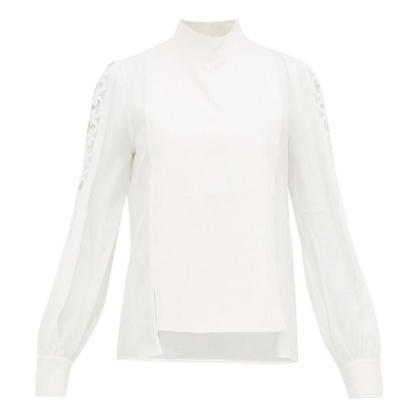 ZEUS + DIONE eirene crochet panel silk blouse in ivory multi