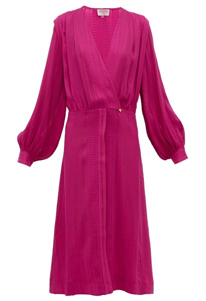 ZEUS + DIONE rania silk-blend crepe wrap dress in pink