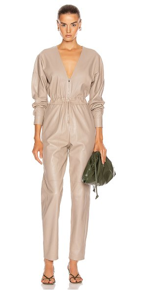 Zeynep Arcay v neck leather jumpsuit in sand